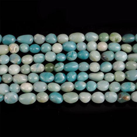 AMAZONIT - SZNUR 40 cm - OTOCZAKI 6 - 12 mm - PEBBLE